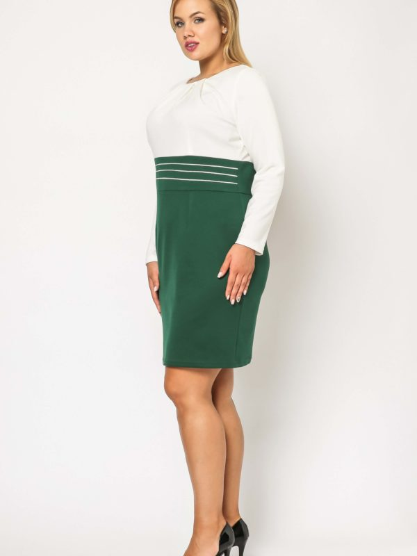 Gabi Knittwear dress, green with ecru