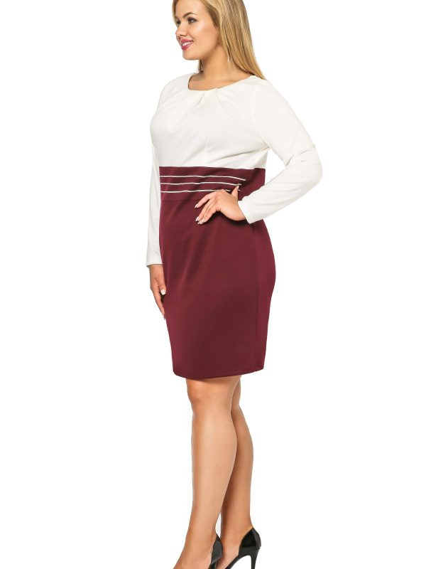 Gabi Knittwear dress, burgundy with ecru