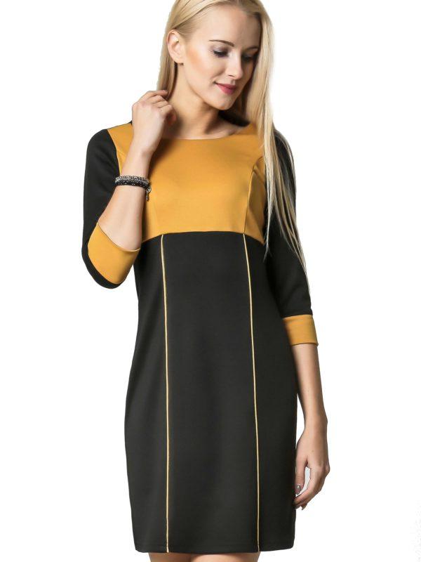 Sukienka Jeanette w kolorze czarnym i miodowym