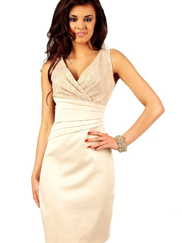 Sukienka Oriana beżowa z koronką