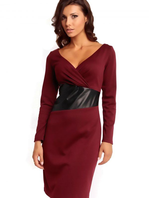 Sukienka ORIANA KNITWEAR w kolorze bordowym