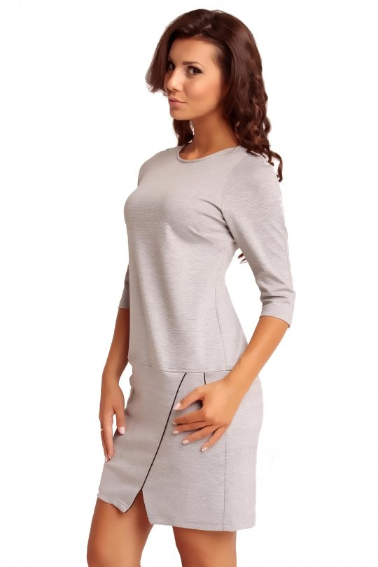 Dress ELENA TRIMMED in grey