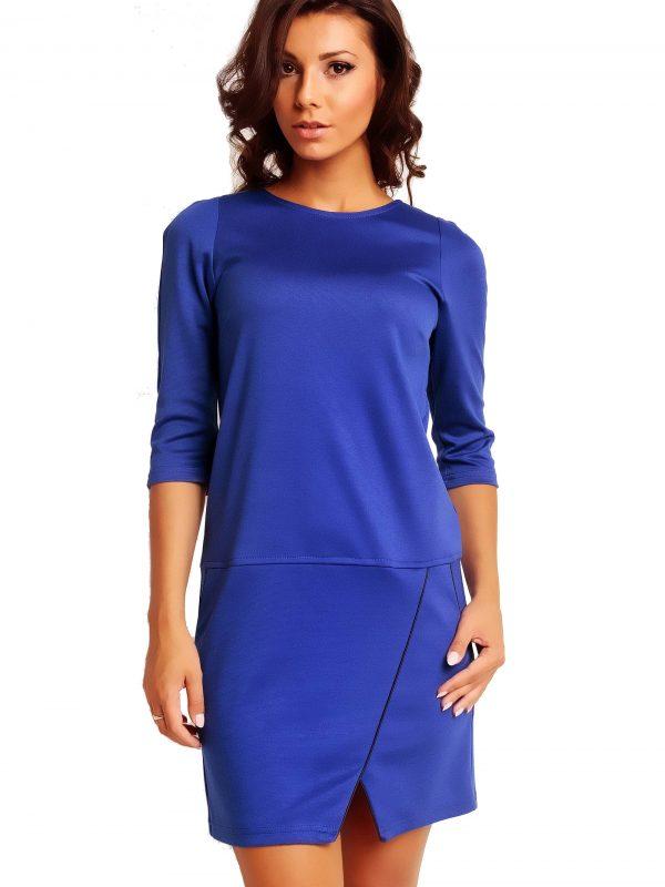 Sukienka ELENA TRIMMED w kolorze szafirowym
