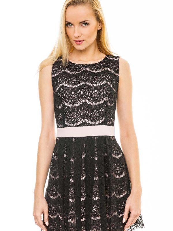Sukienka Emma w kolorze pudrowym z czarną koronką