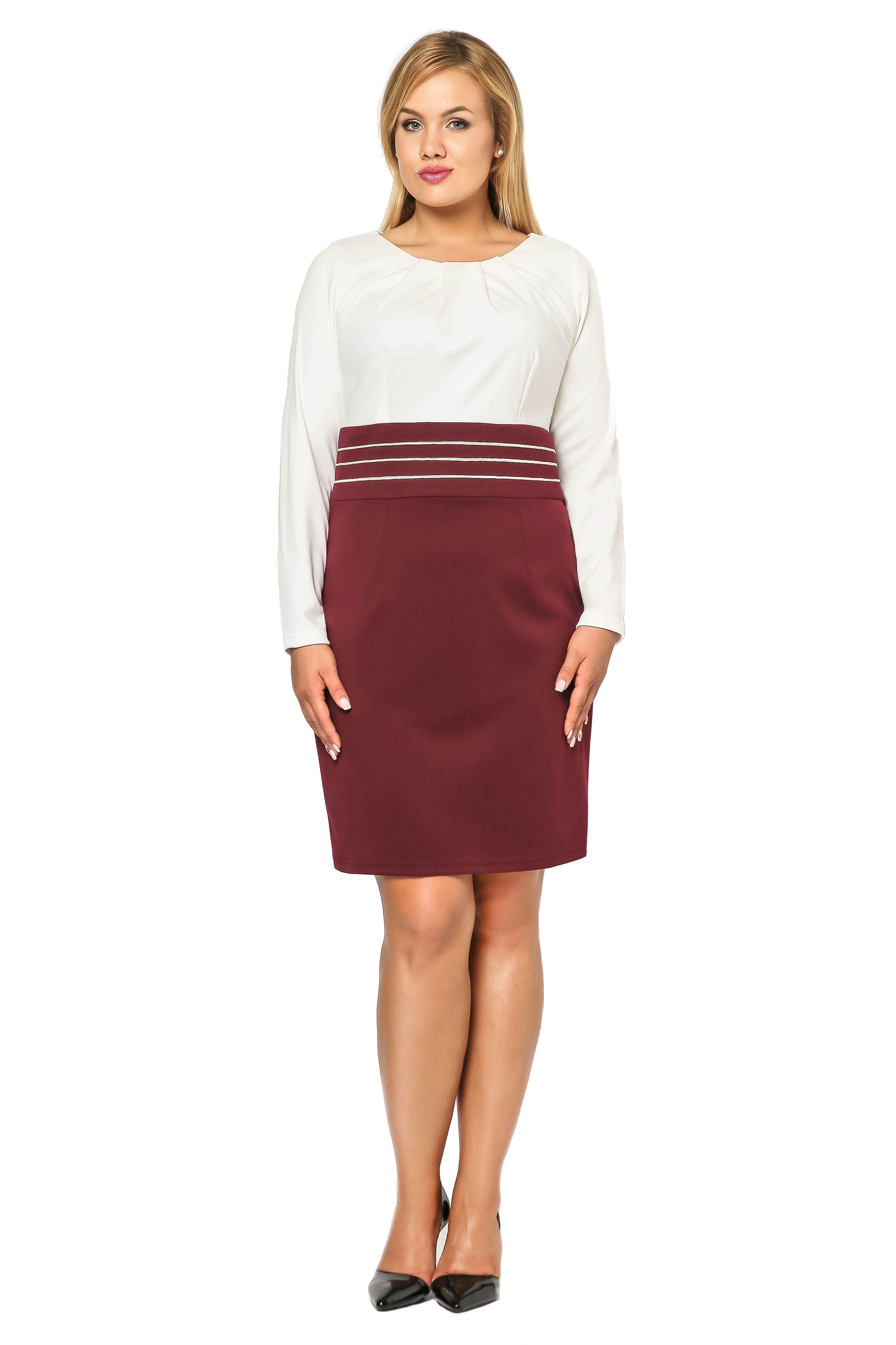 Sukienka Gabi Knittwear w kolorze bordo z ecru