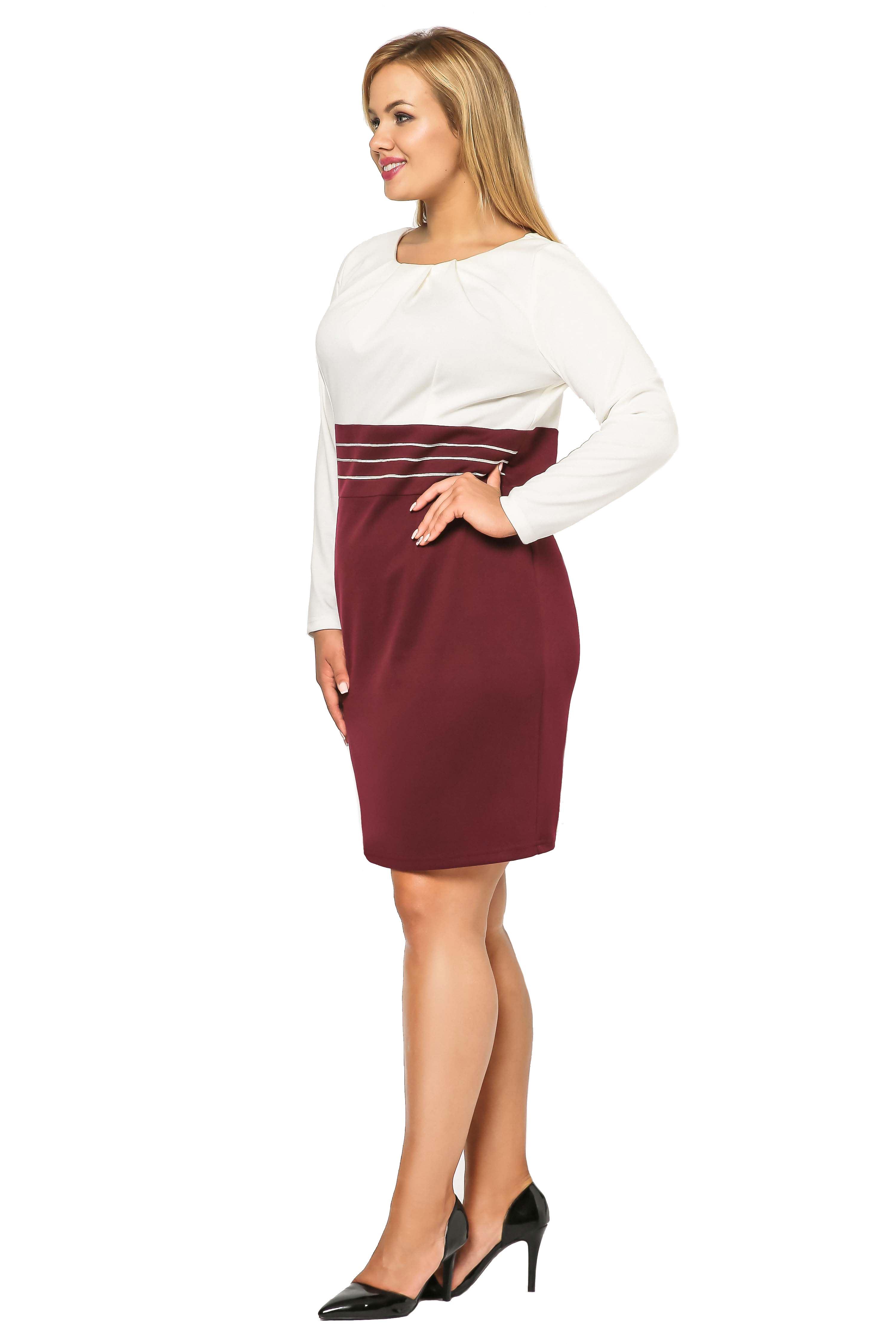 Gabi Knittwear dress, burgundy with ecru