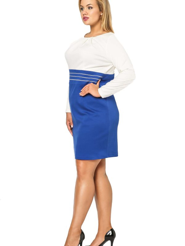 Dress Gabi Knittwear in cornflower blue with ecru