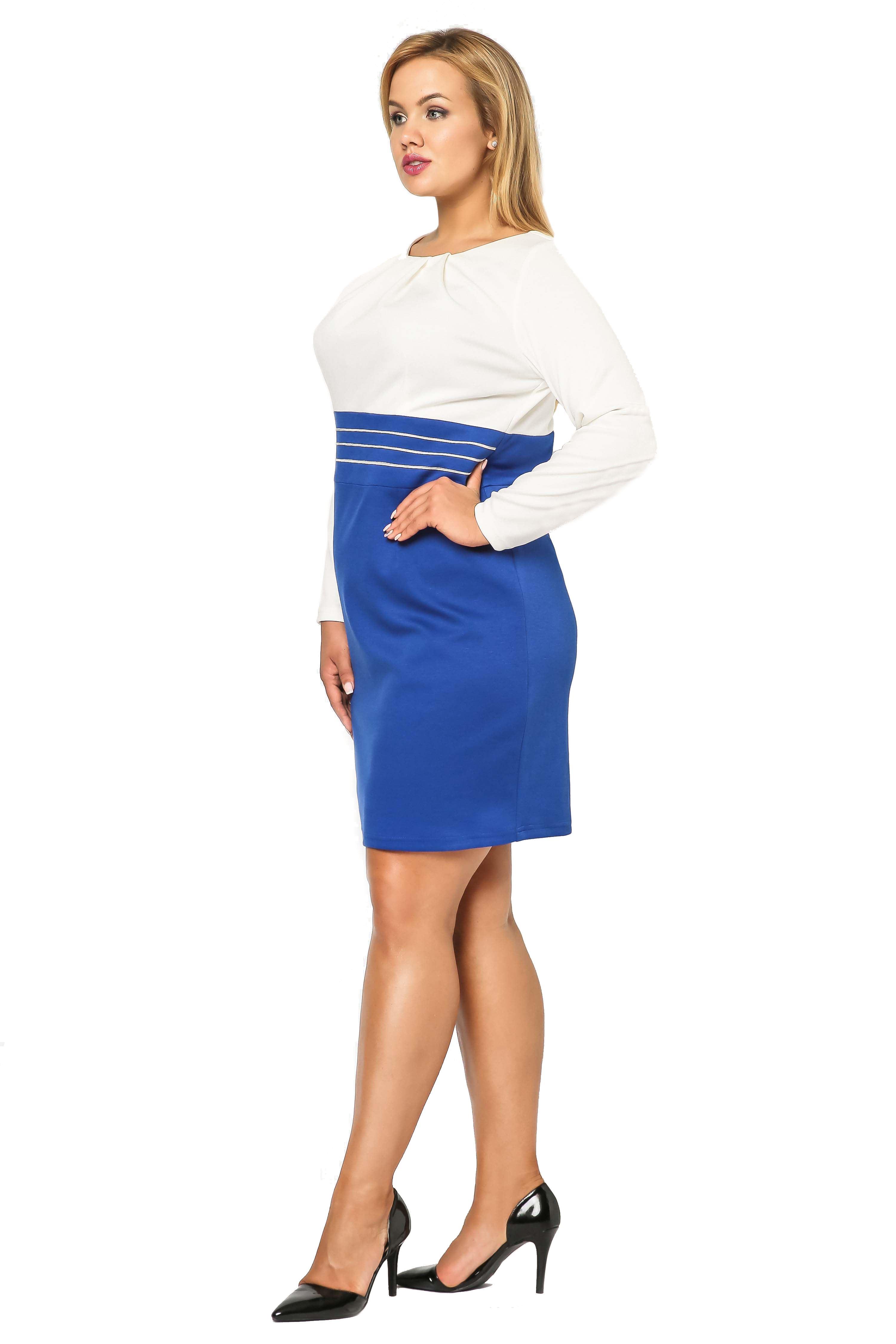 Dress Gabi Knittwear in cornflower blue with ecru