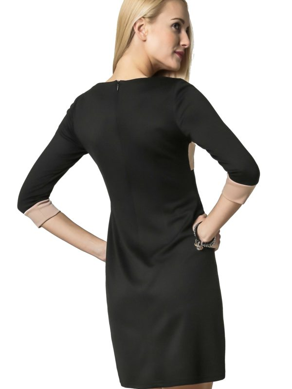 Jeanette dress in black and beige