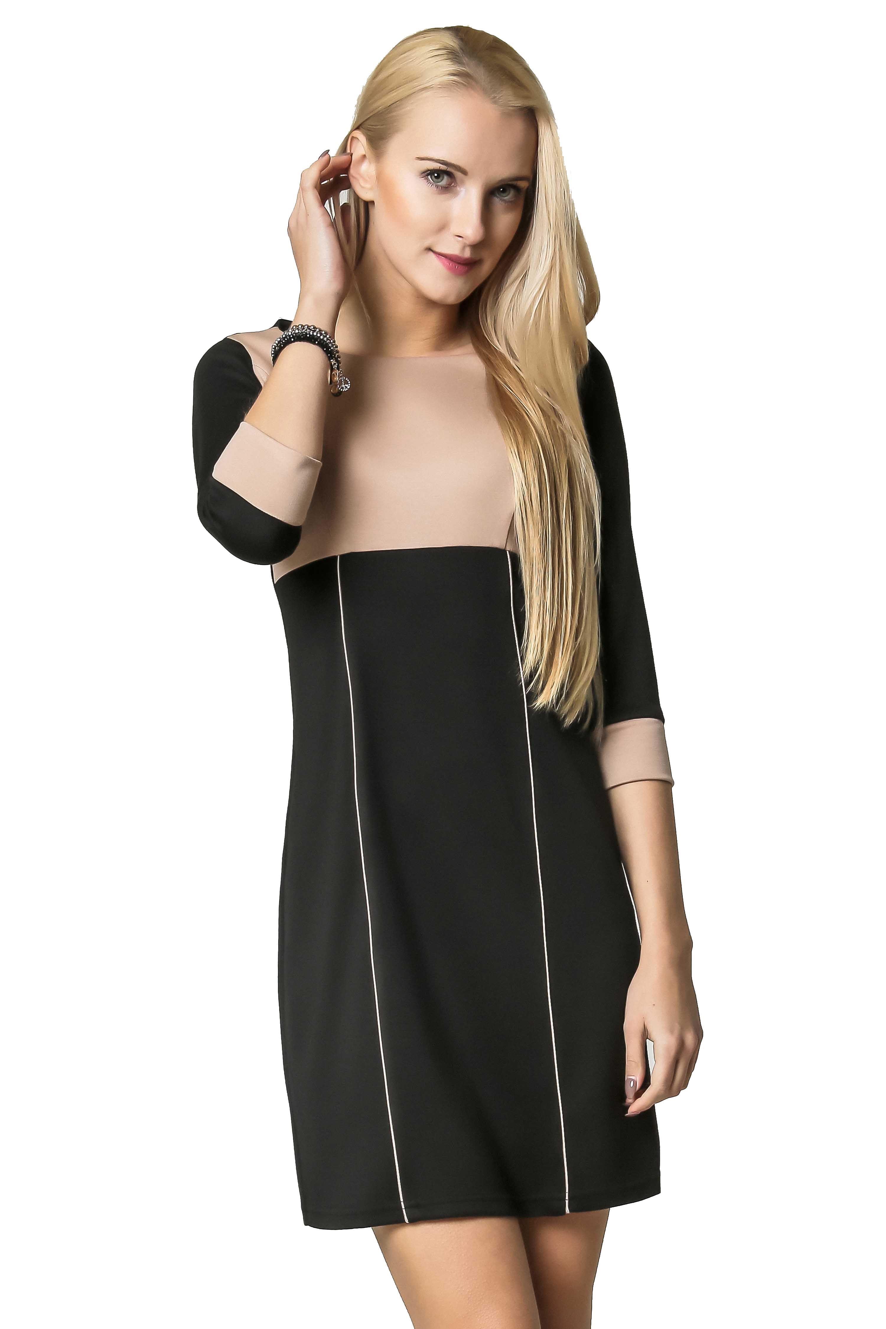 Sukienka Jeanette w kolorze czarno-beżowym
