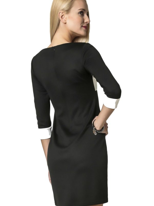 Jeanette dress in black with ecru