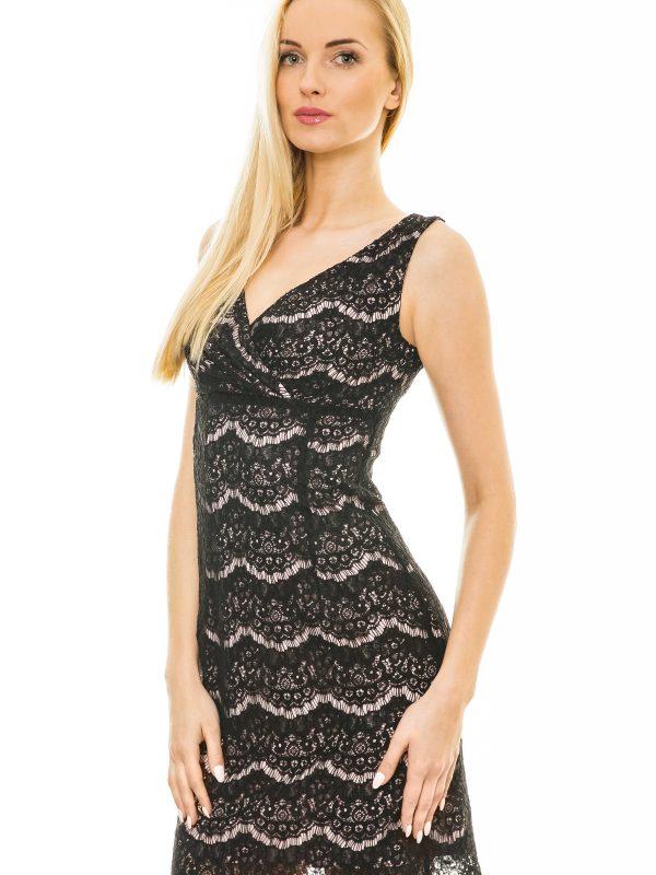 Monique Kleid in pulverisierte Farbe mit schwarzer Spitze