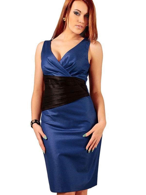 Sukienka Oriana niebieska z czarnym