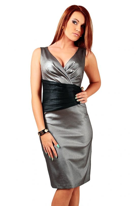Sukienka Oriana srebrna z czarnym