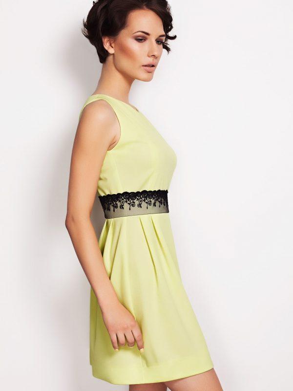 Dress SOLANGE lime-coloured LACE