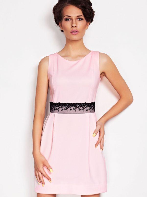 Sukienka SOLANGE KORONKA w kolorze pudrowym